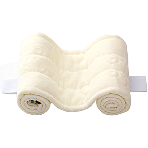 buy OLizee® Soft Cotton Newborn Anti Roll Pillow Prevent From Flat Head Adjustable Infant Head Positioner, Light Yellow for sale