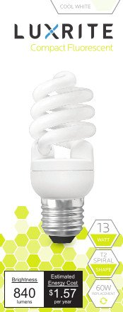 Luxrite LR20178 (2-Pack) 13-Watt CFL T2 Mini Spiral Light Bulb, Equivalent To 60W Incandescent, Cool White 4100K, 900 Lumens, E26 Standard Base (Cfl Pack compare prices)