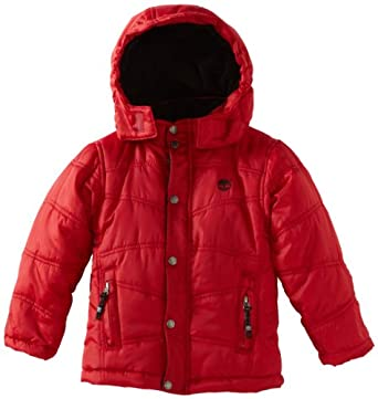 Timberland Little Boys' Metro Bubble Jacket, Red, 4