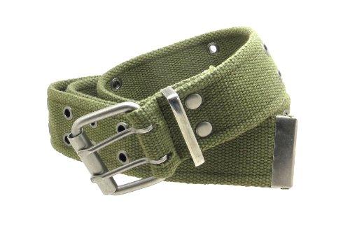 """Double Grommet Cargo Belt 1-3/4"""" Wide Heavy-Duty Cotton Gunmetal Buckle (Olive-L)"""