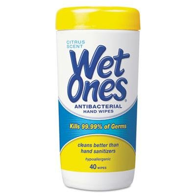 Brand New Wet Ones Antibacterial Moist Towelettes 5 X 7 1/2 White 40/Canister 12/Carton front-988295