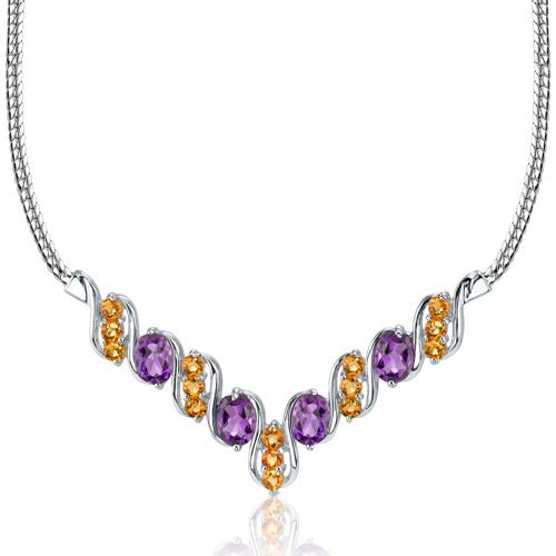 Revoni Trendy 4.50 carats total weight Oval & Round Shape Multi-Gemstone Necklace in Sterling Silver