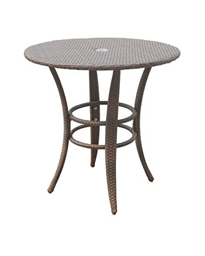 """Panama Jack Key Biscayne Woven 30"""" Round Bistro Table, Antique Brown"""