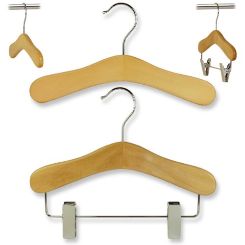 Wardrobe Set of 30 Natural Wooden Coat Hangers (Clip & Top hangers)- 25cm wide for hanging Baby & Toddler Clothing