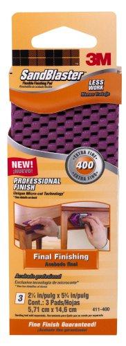 3M SandBlaster Flexible Finishing Pad, 400-Grit, 2.25-Inch by 5.75-Inch, 3-Sheet