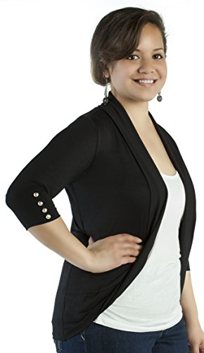 Libian Junior Plus Size Open Front 3/4 Gold Stud Fashion Sleeved Cardigan Top (3X, BLACK)