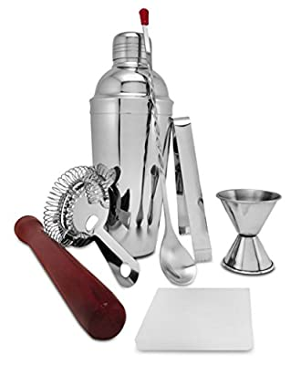 On The Rox 9-Piece Stainless Steel 24 Ounce Bartender Cocktail Shaker with Bar Tools and Accessories
