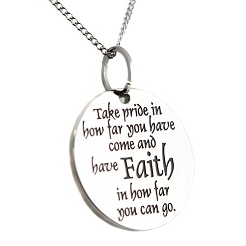 Faith Pride Disc Pendant Inspirational Stainless S…