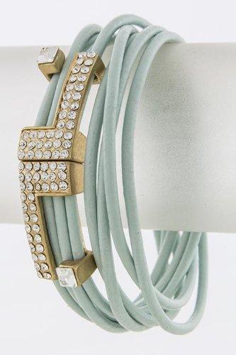Karmas Canvas Double L Shape Accent Leather Bracelet (Baby Blue) front-1065874