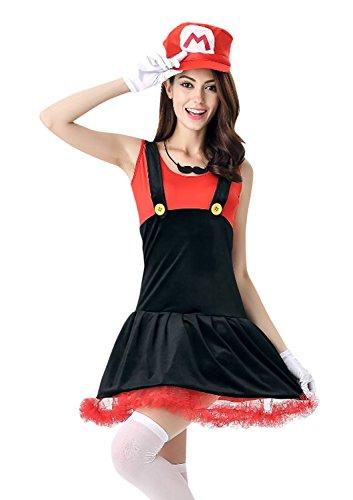 Killreal Women's Super Mario and Luigi Halloween Costume Dress Red/Black one-size (Cheap Mario And Luigi Costumes)