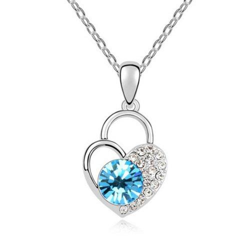 Mqueen Aquamarine Love Heart Lock Pendant Necklace front-668773