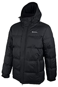 Mountain Warehouse Mens Snow Padded Warm Hooded Puffa Water Resistant Winter Puffer Jacket Coat Black Small