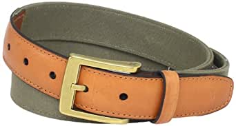 Dockers Men's 32MM Canvas Belt with Leather Trim, Olive, 32