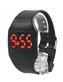 buy Sun*Glory Fashion Mens Womens Touch Red Led Digital Display Silicone Sports Wrist Watch (Black)