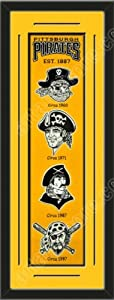 Heritage Banner Of Pittsburgh Pirates With Team Color Double Matting-Framed Awesome... by Art and More, Davenport, IA