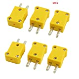 URBEST 6 Pcs 5mm Pin Spacing Yellow Plastic Case SMPW-K-M K Type Thermocouple Wire Connector