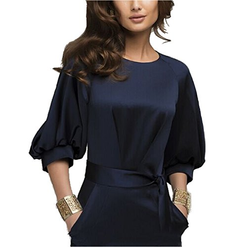 Omine Womens Lantern Sleeve Navy Blue Wear to Work