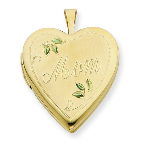 1/20 Gold Filled 20mm Enameled Leaves Mom Heart Locket