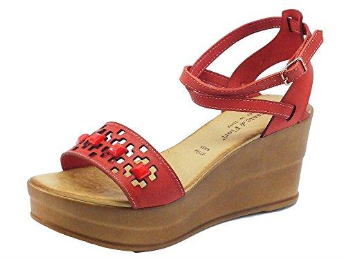 Sandali Mercante di Fiori in pelle corallo fibbia alla caviglia zeppa alta (Taglia 39)