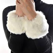 ETHAHE Fuzzy Furry Faux Fur Wristband Arm Warmer Cuff Bracelet Wrist Supporter White