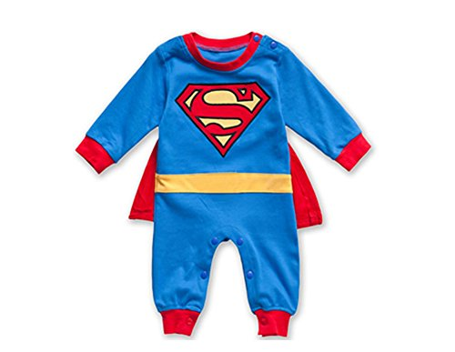 Pure Cotton Baby Pajamas Fastener Cartoon Superman Button Jumpsuits