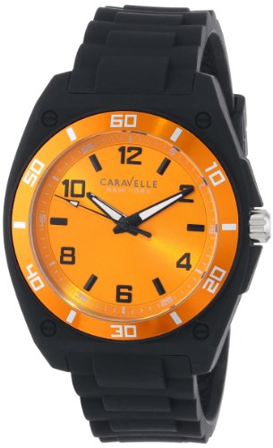 Caravelle by Bulova Men's 44mm Black Rubber Band Steel Case Quartz Yellow Dial Analog Watch 45A112