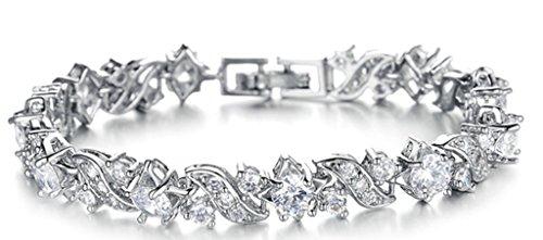 18K Placcato Oro Bianco Bracciale Charms da Donna Ragazze, Swarovski Elements, Intarsiato Bianco Cristallo Flower - Adisaer