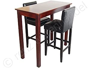 barset 2 barhocker mit bartisch set essgruppe stehtisch schwarz bistrotisch 117x57x109 amazon. Black Bedroom Furniture Sets. Home Design Ideas