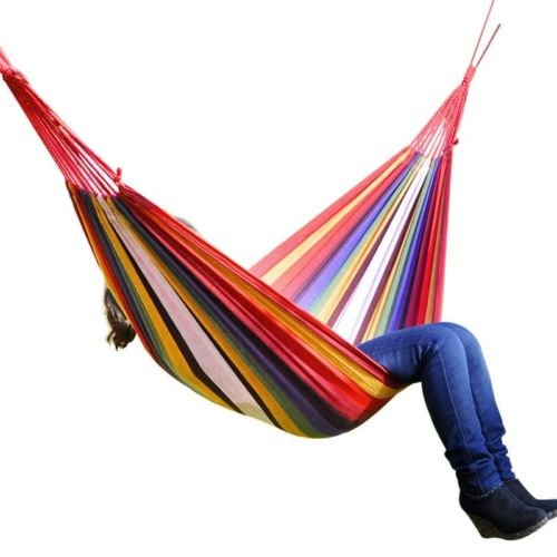 Lemonbest® Hanging Rope 190*80Cm Single Thick Cotton Fabric Hammock , Color Stripes For Outdoor Indoor Use front-552832