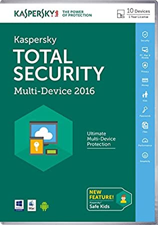 Kaspersky Total Security 2016 Multi Device 10 Device 1 Year (PC DVD/Mac)