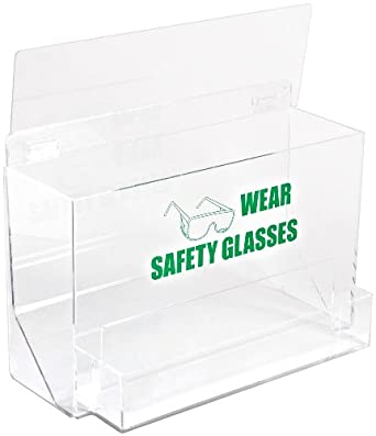 "Brady PD701E 12-1/4"" Height, 18"" Width, 9-1/4"" Depth, Tough Acrylic, Green On Clear Color Large Capacity Eye Protection Dispenser, Legend ""Wear Safety Glasses (With Picto)"""