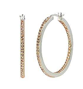 Sterling Silver Peach Crystal 35mm Inside Out Hoops