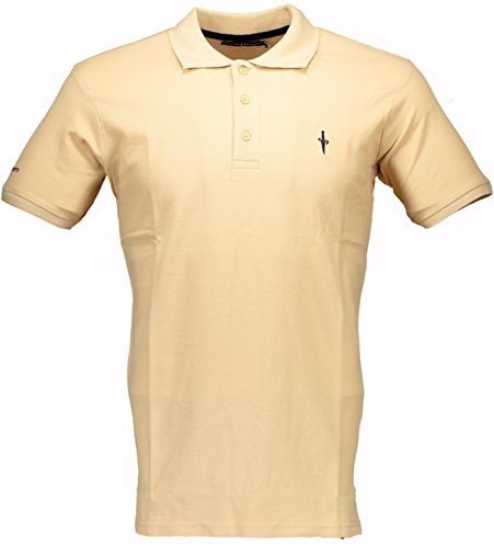 Polo Cesare Paciotti Uomo Men t-shirt 100% Italy Fashion Piquet Stone Washed Vintage-Beige-XL
