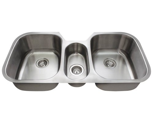 Buy Bargain MR Direct 4521-18 Triple Bowl Stainless Steel Kitchen Sink, Brushed Satin, 18-Gauge