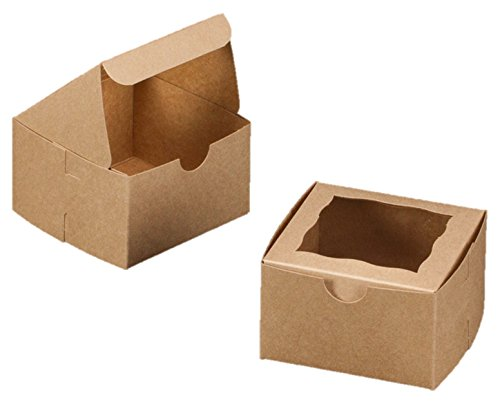 Bakery Box With Window 4x4x2.5 inch - 25 Pack - Eco-Friendly Paperboard Take Out Gift Boxes for Pastries, Cookies, Cupcakes, and more
