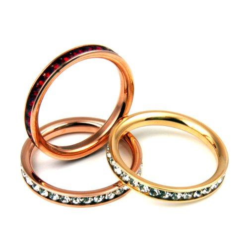 3 pc Stainless Steel Stackable Channel Set Eternity Rings - Rose & Yellow Gold Plated, Clear & Ruby CZ - Size 8