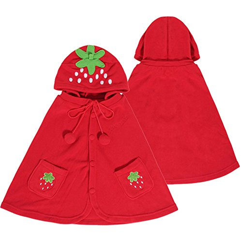 Adorable Strawberry Baby Clothes Cloak Baby Kids Warm Hood Cape Coat 66cm
