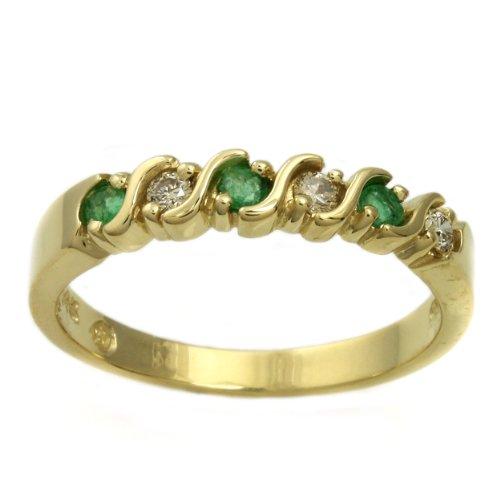 14k Yellow Gold Emerald and 1/10ct TDW Diamond Anniversary Ring (H-I, I1-I2) (Size 6.5)