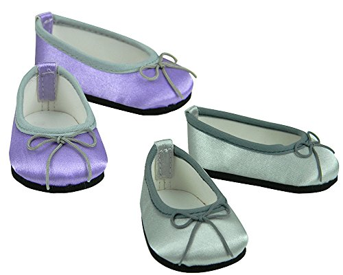 18 Inch Doll Dress Shoes, Purple Shoes, Silver Shoes, 2 Pair Set Fits 18 Inch American Girl Dolls & More! Dress Satin Slip on Doll Shoes, 1 Pr. Lavender w/ Silver Trim and 1 Pr. Silver w/ Gray Trim Dressy Doll Shoes