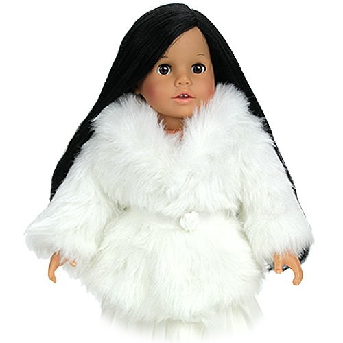 Dress Doll Coat in Creamy White Fur fits American Girl Dolls