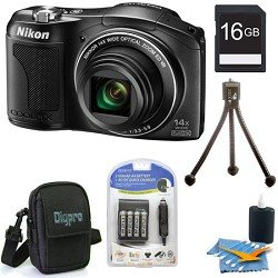 Nikon COOLPIX L610 16 MP Digital Camera with 14x Zoom NIKKOR Glass Lens and 3-inch LCD (Black) Premiere Bundle With 8 GB Secure Digital High Capacity (SDHC) Memory Card, Digpro Compact Camera Deluxe Carrying Case,more