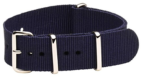 20Mm Nato Ss Nylon Solid Navy Blue Interchangeable Replacement Watch Strap Band