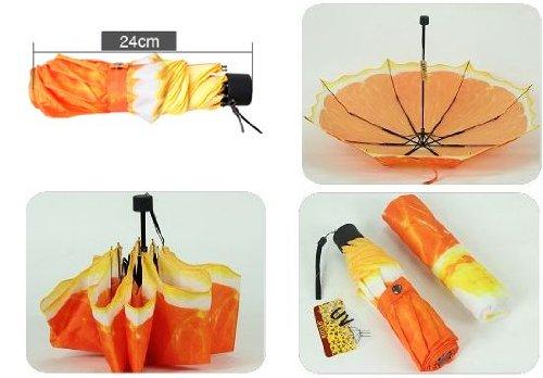 ジューシー!【 日傘 雨傘 兼用 】 オレンジ 折りたたみ傘 強UVカット 8本骨 3段折り  晴雨兼用 ファッション アンブレラ 傘 [HAPPYNESSMAIL]