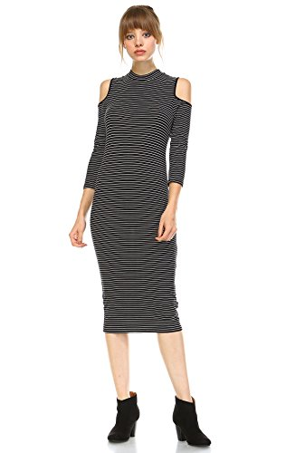 Zoozie LA Women's Cold Shoulder 3/4 Sleeve Midi Dress Black White S