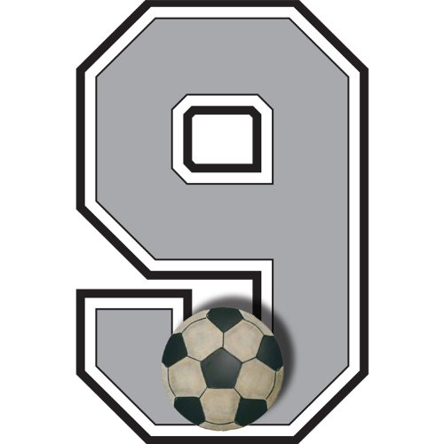 """9"" Soccer Ball Jersey Number Varsity Uniform Wall Sticker. Decal Numbers For Children'S, Nursery & Baby'S Sport Room Decor, Baby Wall Team Number Stickers, Boys Bedroom Wall Sports Decorations. Sports Balls Mural Walls Decals Baby Shower front-1019130"