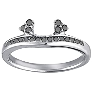Sterling Silver Engagement Ring Wrap (0.25 crt. Black Cubic Zirconia).