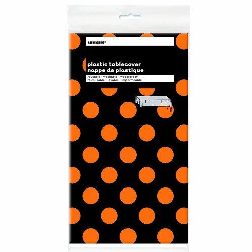Nappe en plastique 54 « X 108 »-Orange & points décoratifs noirs
