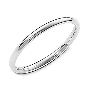 Sterling Silver 2MM High Polish Plain Dome Tarnish Resistant Comfort Fit Wedding Band Ring Sz 8