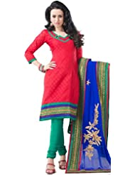 Exotic India True-Red Choodidaar Kameez Suit With Embroidered Border - True-Red