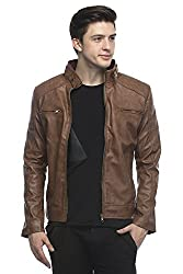 Bulls Eye Men's Leather Jacket(BE09_Brown_39_Small)